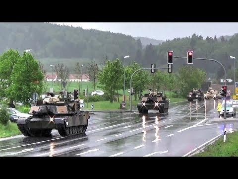 U.S. Tanks & Howitzers Passing Through