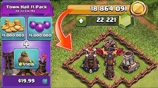 IS THIS POSSIBLE!?! NEW UPDATE!! 160$ GEM SPREE  TOWN HALL 11 PACK!!  (18 million in clash of clans)