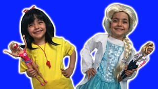 Elsa And Snow White Play Dress Up In Costumes With Barbie Dolls Toys Life Guard And Doctor For Girls