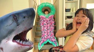 金魚→サメ→人魚!??? エサをあげ過ぎてはいけません!! キッズマナー 人魚のヒミツ おゆうぎ こうくんねみちゃん