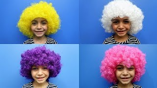 Learn Colors with Colours Hair Wigs for Kids and children! pretend play video