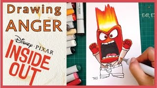 INSIDE OUT - Drawing ANGER - DIsney Pixar movie 2015 - Copic markers