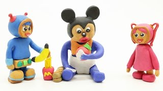 Baby Mickey Mouse and Team Umizoomi Food Learning PlayDoh Claymation Cartoon Movies