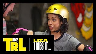 Liza Koshy Learns How to Roller Derby | Liza Tries It | TRL