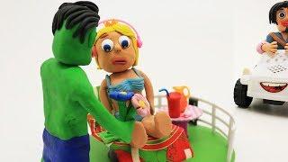 Elsa Beach Party Boyfriend !! Superhero Frozen Play Doh Stop Motion Cartoons