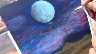 ClassPlan - Moon night oil pastel on black card stock - inadvertent asmr art painting tutorial