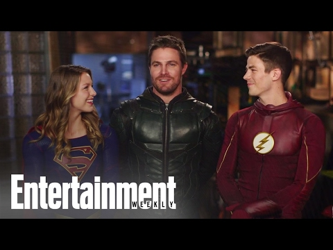 CW Superheroes Crossover Behind The Scenes Cover Shoot Entertainment Weekly