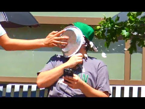 Tying Peoples Shoes and Pieing them in the Face Prank
