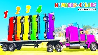 VAN CARS COLOR & Truck Transportation Spiderman 3d Cartoon for Kids Nursery Rhymes for Children