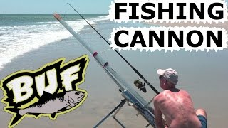 BEACH FISHING CANNON BAIT CASTER 300 YARD CASTING OFFSHORE 6 FOOT SHARKS BUNKER UP FISHING