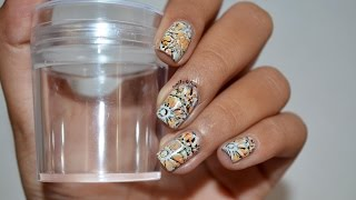 Double stamping nail art using XL Clear jelly stamper+ Review
