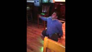 Funny drunk guy dancing at the bar