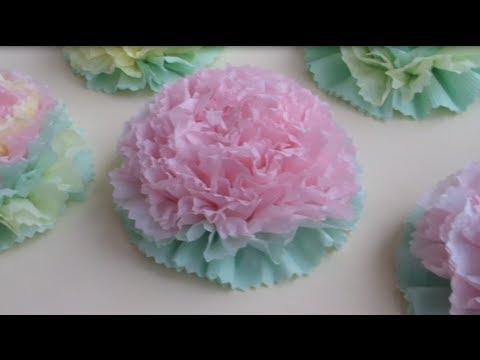 Сделать цветы из салфеток видео
