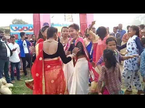 Tharu girls dance in band baja in marige