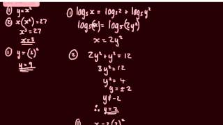 Exponentials and Logarithms 7)    Simultaneous Equations