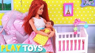 Barbie Doll BabySitter for Baby Doll and Cute Little Doggy! 🎀