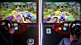 Man Vs Woman Gamer....One OWNS The Other! 2 Player Versus Games Dirty Drivin' & Cruis'n Blast