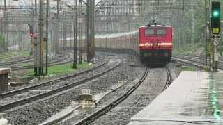 [3 in 1] TRAINS TRIO in LOVELY RAIN : Howrah Duronto Express + Mumbai's Lifeline + Deccan Queen