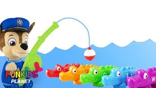 Learning Colors for Kids: Paw Patrol Chase & Marshall Goes Fishing For Rainbow Alligators