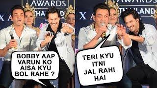 Bobby Deol Angry On Media For Trolling Varun Dhawan | IIFA Weekend Awards Mumbai Press Conference