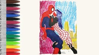 SPIDERMAN And SPIDER GIRL Kissing Coloring Pages Ultimate SPIDERMAN SAILANY Coloring Kids