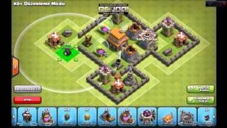 Clash of Clans 5. seviye köy binası düzeni ganimet ve kupa kesin izle.