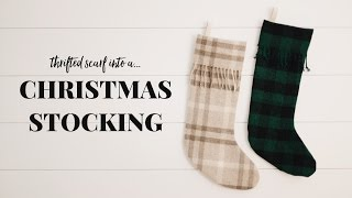VLOGMAS #8 • DIY Christmas Stocking From a Thrifted Scarf