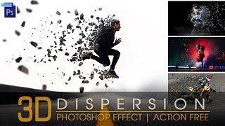 Photoshop Tutorial   3D Dispersion Effect   Photoshop Action free   3D Effect
