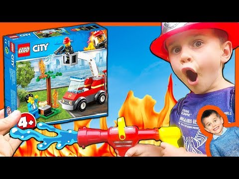 LEGO City Fire Truck Barbecue Burnout and Pretend Play