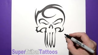 How to Draw The Punisher Skull - Inspired Tribal Tattoo Design