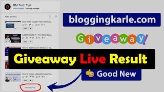 bloggingkarle.com Domain Giveaway 🔴 Live Result