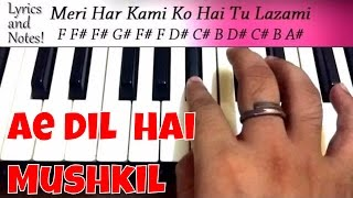 Ae dil hai mushkil piano | Note by Note Easy Piano Tutorial | instrumental Cover Lesson