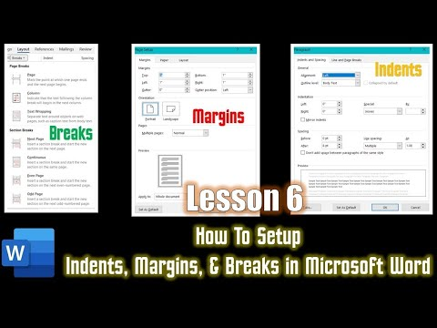 How to Use Indents Margins and Section Breaks Microsoft Word 2016 Tutorial The Teacher