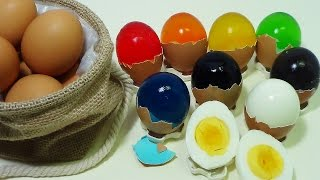 ToyCheff Make Colorful Jelly Eggs & Chocolate Eggs Using Really Eggshell 다양한 칼라 젤리 계란 쵸콜릿 계란 만들기