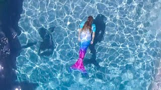 LIVE MERMAIDS IN THE SWIMMING POOL! GIRLS BECOME REAL MERMAIDS!
