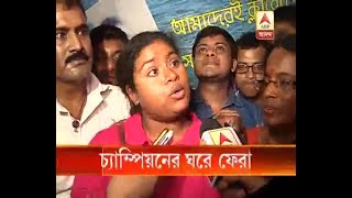 Bengal girl Sayani Das crosses turbulent English Channel returned home: Watch