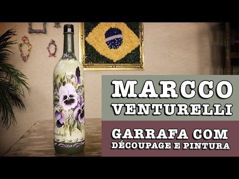 DIY Garrafa com découpage e pintura Marcco Venturelli