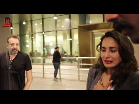 Sanjay Dutt, Madhuri Dixit Spotted At Mumbai Airport 2018