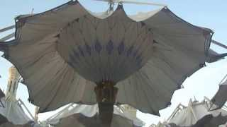 umbrellas in madina mosque unfolding