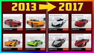 """HOW VEHICLE PRICES HAVE CHANGED IN GTA ONLINE FROM 2013 TO 2017 - COMPARING """"DAY ONE"""" PRICES TO NOW!"""