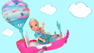 FLYING ! Lemonade ! Elsa & Anna toddlers FLY with Barbie's Magical Dreamboat - Accident ! Playing