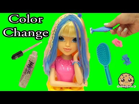 Magic Hair Color Changing Moxie Girlz Doll Style Head Playset - Cookieswirlc Toy Video