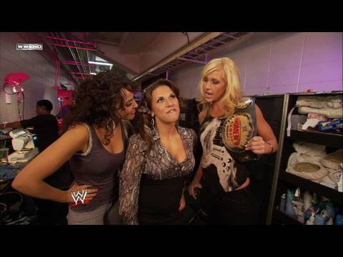 Womens Champion Michelle McCool and Layla talk to Mickie