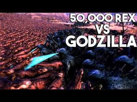 50,000 T REX VS GODZILLA & MECHAGODZILLA - Ultimate Epic Battle Simulator MOD