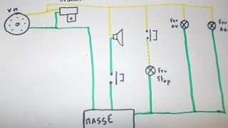 Faisceau electrique 3 fils peugeot 103 partie eclairage