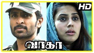 Wagah Tamil movie scenes   Vikram Prabhu realise Ranya is Pakistani   Karunas