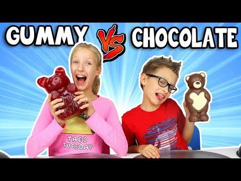 GUMMY vs CHOCOLATE Food Challenge