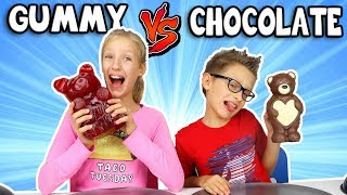 GUMMY vs CHOCOLATE Food Challenge!!!