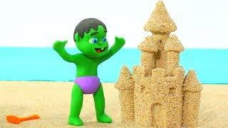 Hulk Makes Sand Figures ❤ Frozen Elsa & Superhero Babies Play Doh Cartoons ❤ Stop Motion Movies