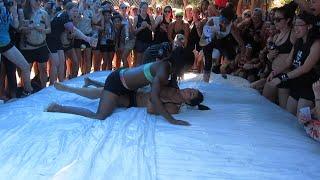 Lesbian Oil Wrestling!! |She got me naked|